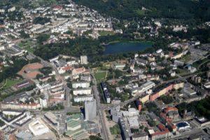 Chemnitz - Innenstadt mit Blick auf den Schloßteich